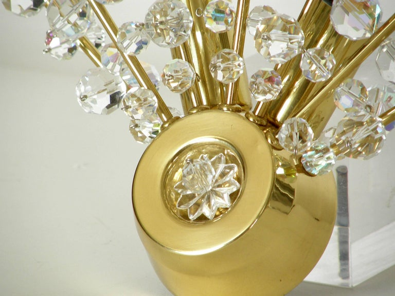 Pair of Brass and Cut Crystal Sputnik Wall Sconces In Excellent Condition For Sale In Chicago, IL