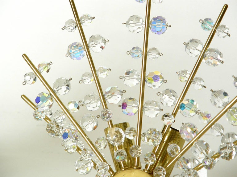 Austrian Pair of Brass and Cut Crystal Sputnik Wall Sconces For Sale