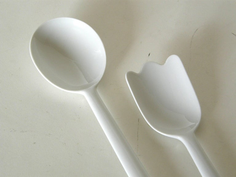 Mid-Century Modern White Porcelain Serving Fork and Spoon For Sale