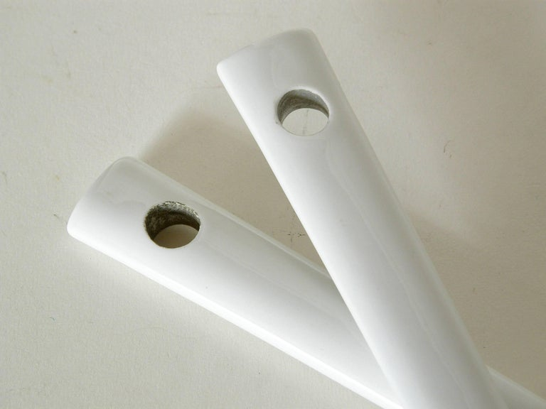 Mid-20th Century White Porcelain Serving Fork and Spoon For Sale