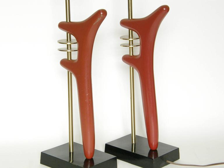 Pair of Sculptural Brass and Enameled Metal Table Lamps For Sale 5