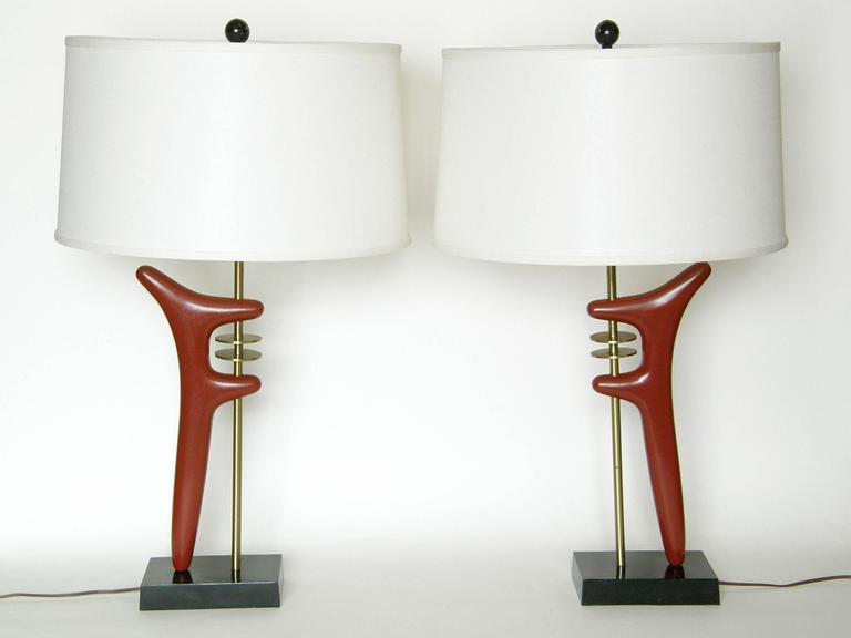 Pair of brass and enameled metal table lamps, design after a sculpture by 20th century modern master sculptor, Isamu Noguchi.  base- 7.25