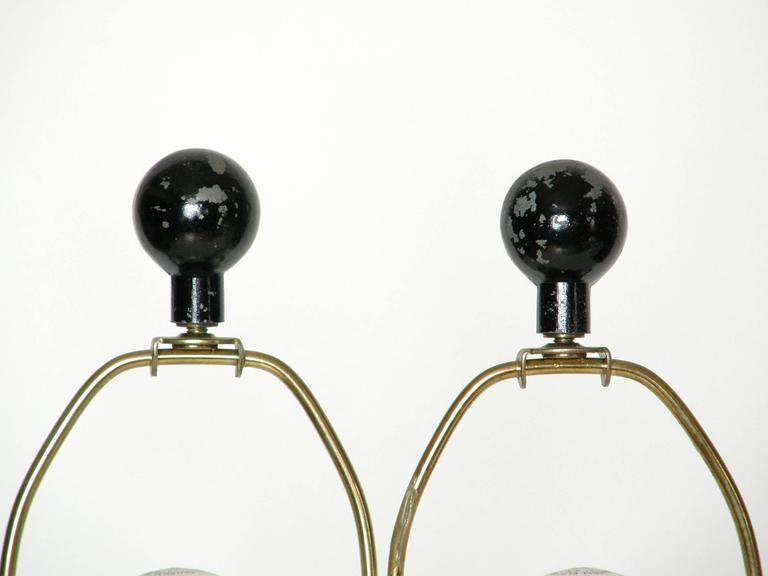 Pair of Sculptural Brass and Enameled Metal Table Lamps For Sale 2