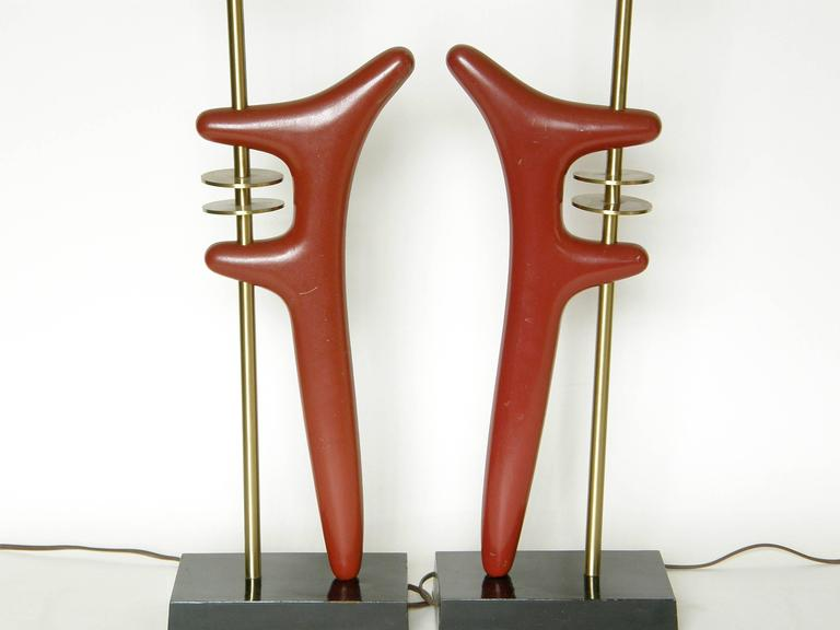 Pair of Sculptural Brass and Enameled Metal Table Lamps For Sale 1