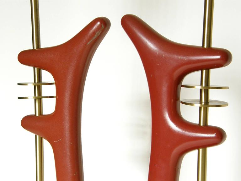Pair of Sculptural Brass and Enameled Metal Table Lamps For Sale 4