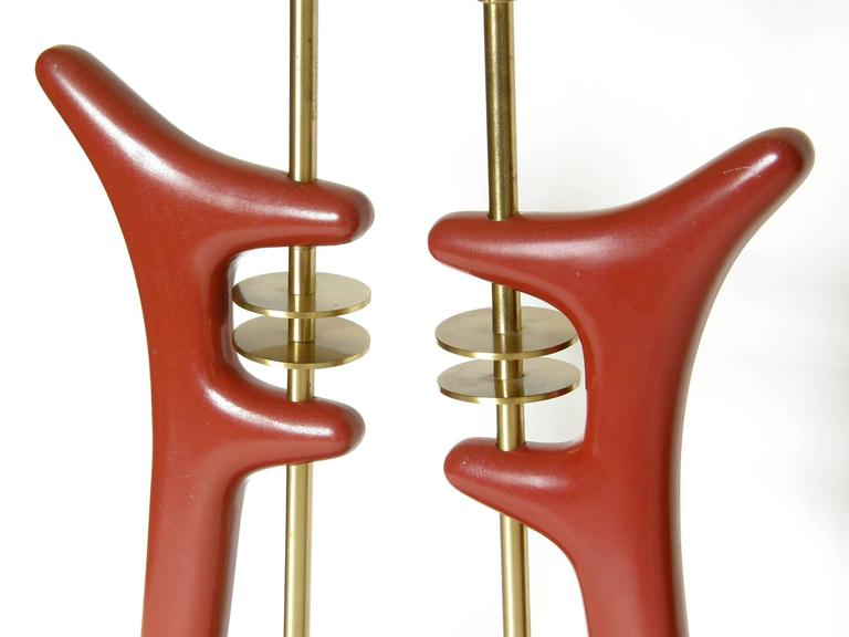 Pair of Sculptural Brass and Enameled Metal Table Lamps For Sale 3