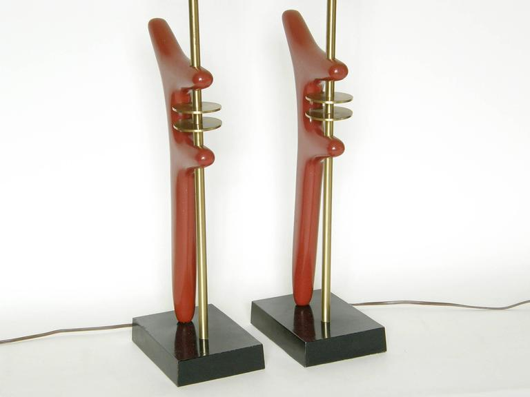 Pair of Sculptural Brass and Enameled Metal Table Lamps For Sale 6