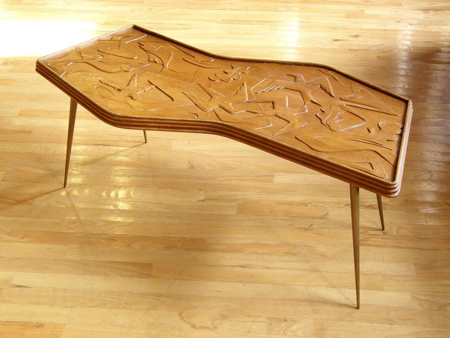 Zigzag Coffee Table With Carved Birds And Fish For Sale At 1stdibs