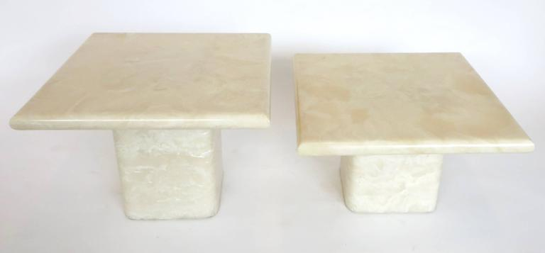 Mid-Century Modern Pair of Cream Ivory Cultured Marble Low Side or Coffee Tables For Sale