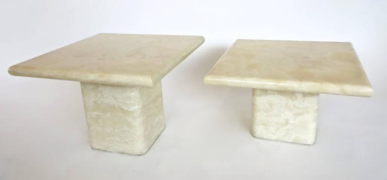 American Pair of Cream Ivory Cultured Marble Low Side or Coffee Tables For Sale