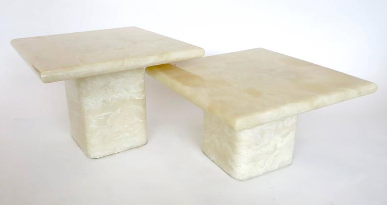 Pair of Cream Ivory Cultured Marble Low Side or Coffee Tables In Excellent Condition For Sale In Chicago, IL
