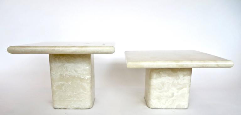 Late 20th Century Pair of Cream Ivory Cultured Marble Low Side or Coffee Tables For Sale