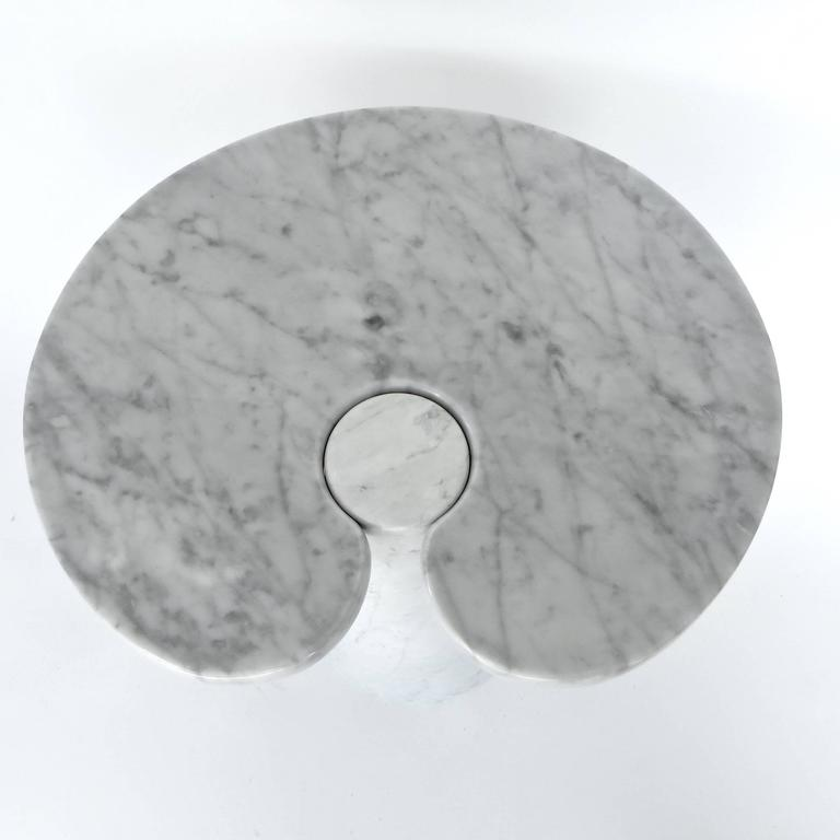 Angelo Mangiarotti Italian Carrara Marble Low Side Table, Eros Series 7