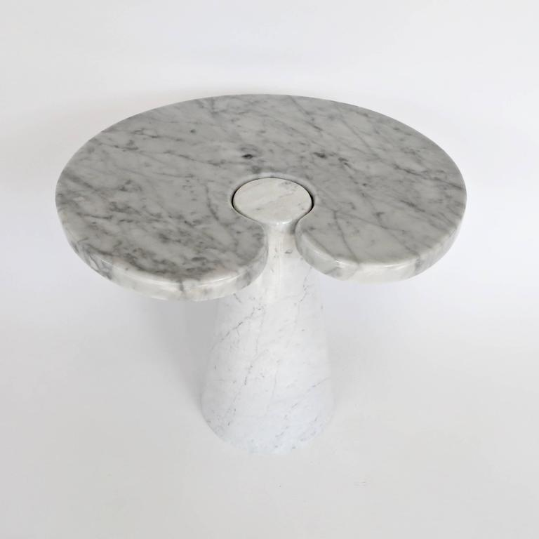 Mid-Century Modern Angelo Mangiarotti Italian Carrara Marble Low Side Table, Eros Series For Sale
