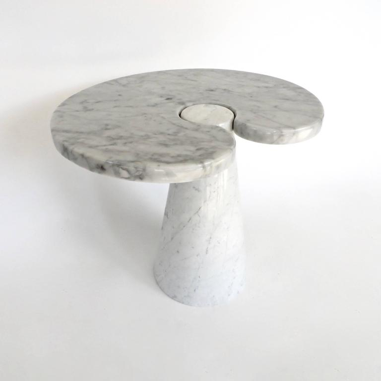 Late 20th Century Angelo Mangiarotti Italian Carrara Marble Low Side Table, Eros Series For Sale