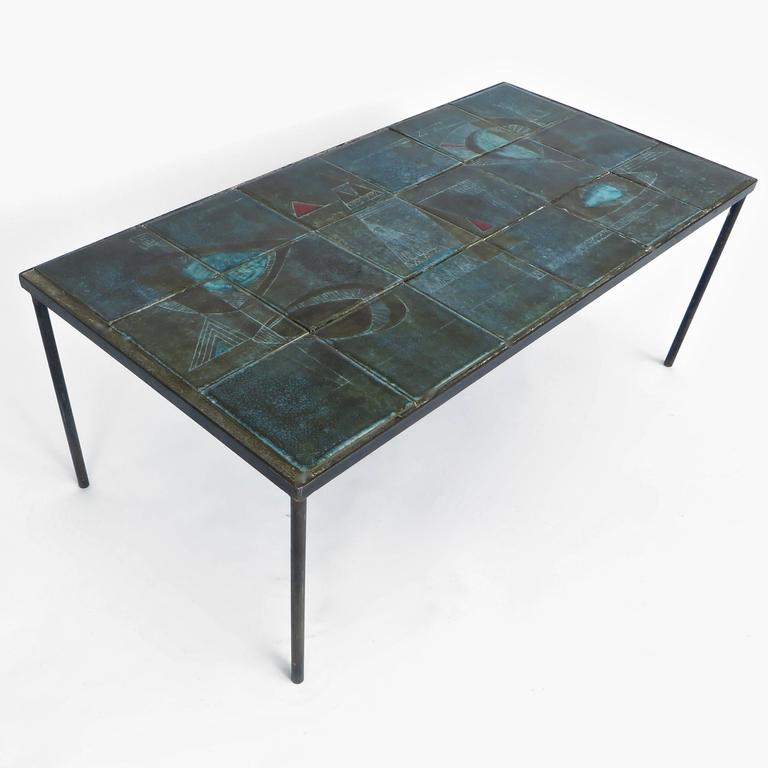 French Graphic Ceramic Tile Coffee Table By Les Deux Potiers Two Potiers At 1stdibs