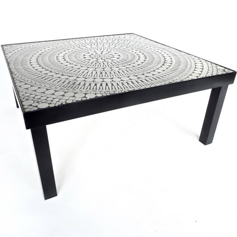 An Aluminum Inlaid Mosaic Coffee Table By The Belgian Designer Artist Raf  Verjans. The Mosaic