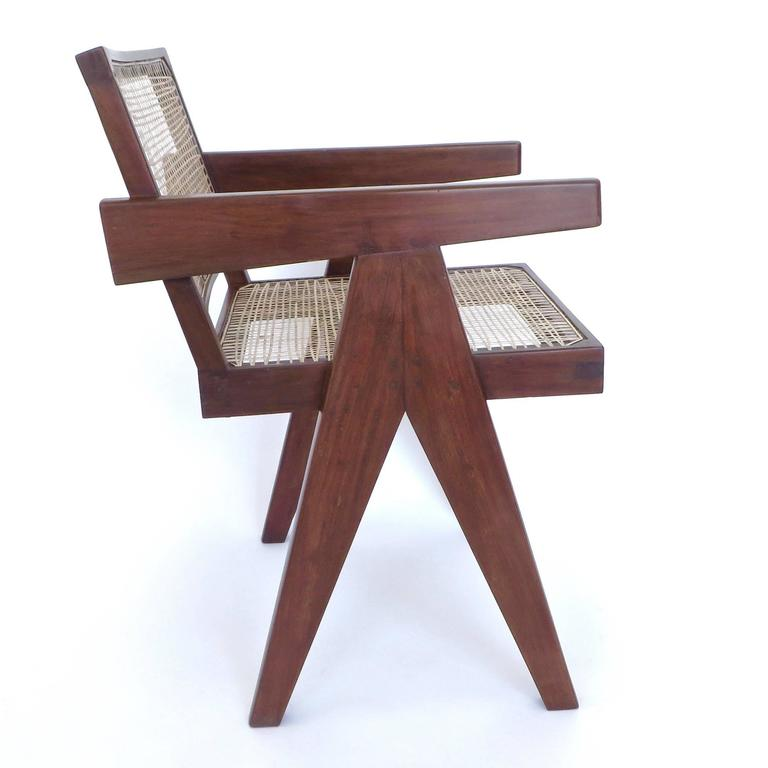 Mid-20th Century Pair of Office Dining Armchairs by Pierre Jeanneret from Chandigarh