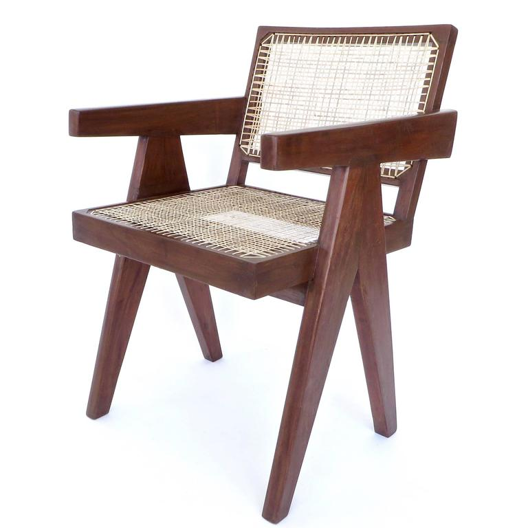 Indian Pair of Office Dining Armchairs by Pierre Jeanneret from Chandigarh