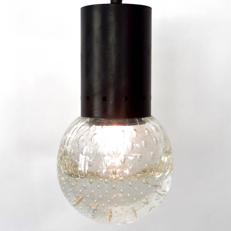 Italian Gino Sarfatti and Archimede Seguso Murano Glass Single Pendant For Arteluce For Sale