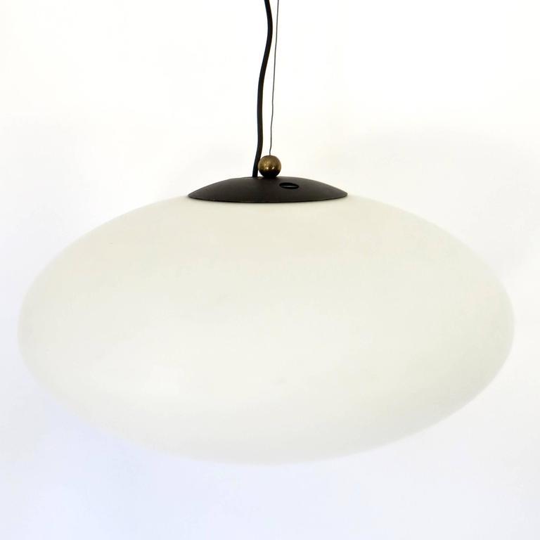 Mid-Century Modern Italian Vintage Blown Opaque Glass Pendant Light by Stilnovo Circa 1960 For Sale