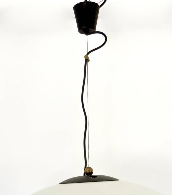 Italian Vintage Blown Opaque Glass Pendant Light by Stilnovo Circa 1960 For Sale 1