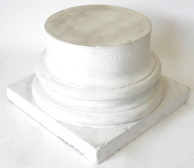 Beaux Arts Vintage Late 19th Century French White Plaster Ionic Column Base For Sale