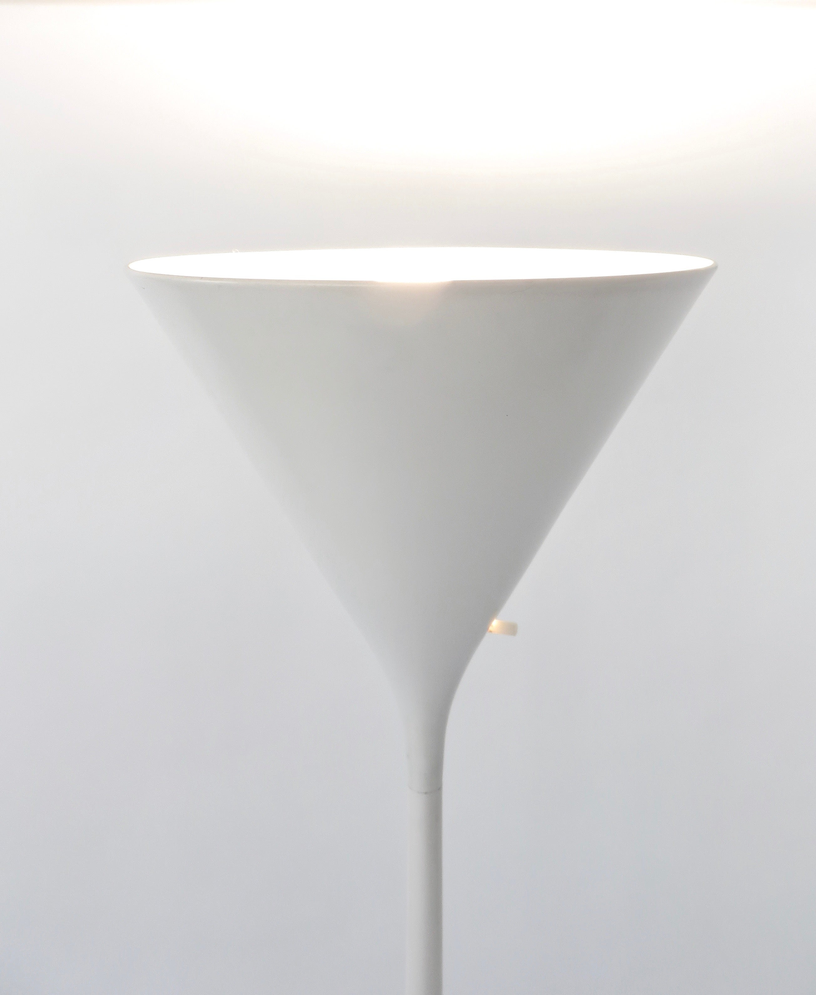 Walter Von Nessen Minimalist Lacquered White Aluminum Torchiere Floor Lamp