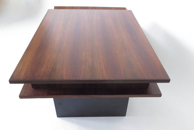 Italian Two-Level Rosewood Coffee Table with One Drawer on Black Laminate Base For Sale 3