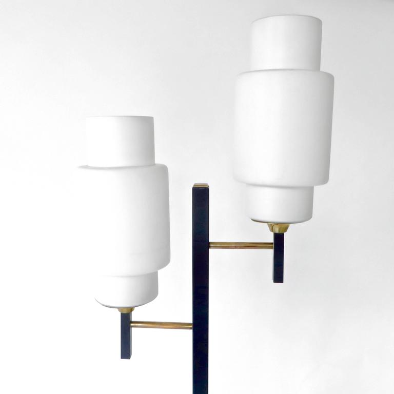 French Floor Lamp by Maison Lunel with Two Opaline Glass Shades 3