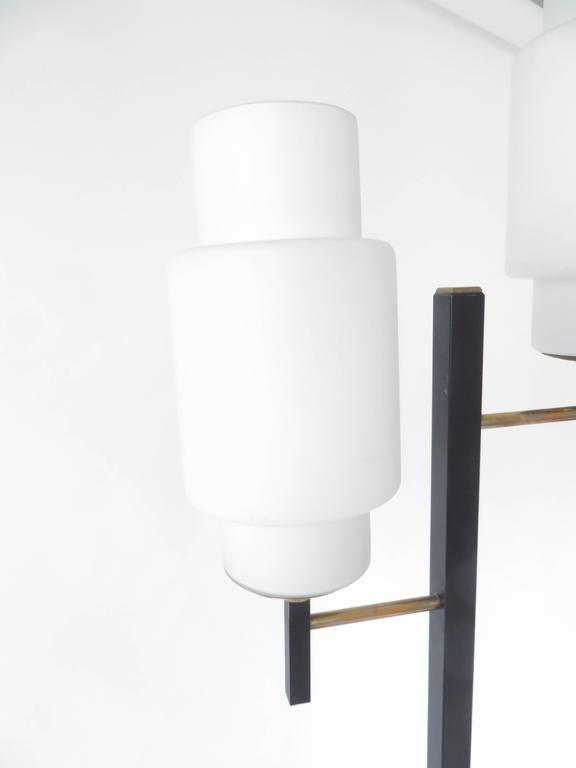 French Floor Lamp by Maison Lunel with Two Opaline Glass Shades 5