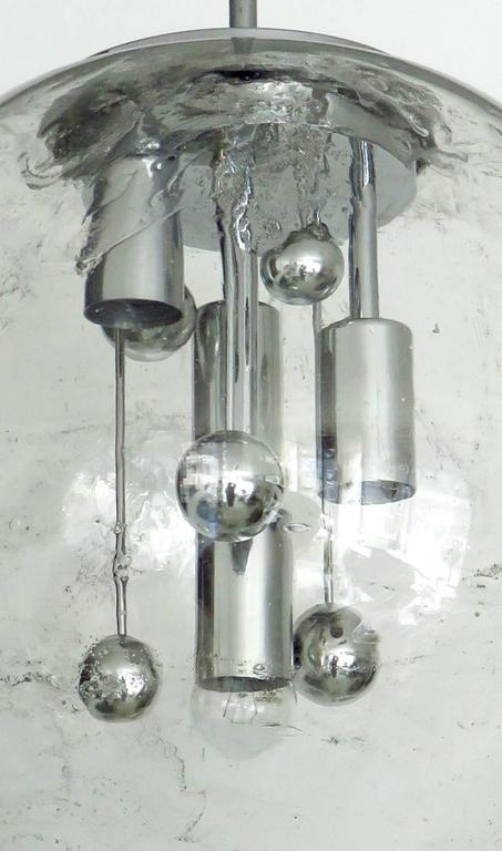 Mid-Century Modern Large Doria German Blown Glass Globe Clear Milky Way Four-Light Hanging Fixture For Sale