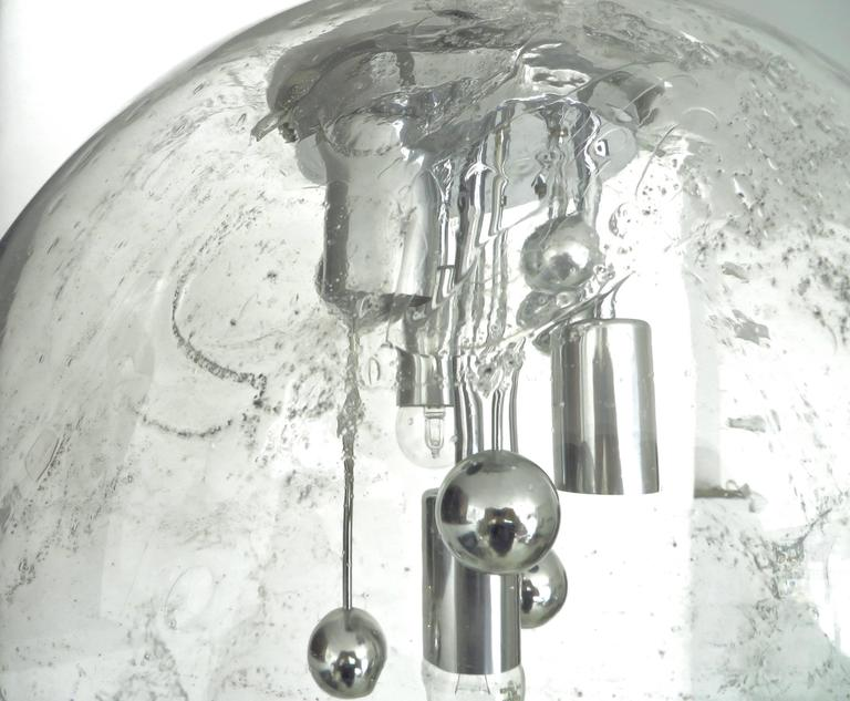 Large Doria German Blown Glass Globe Clear Milky Way Four-Light Hanging Fixture In Excellent Condition For Sale In Chicago, IL