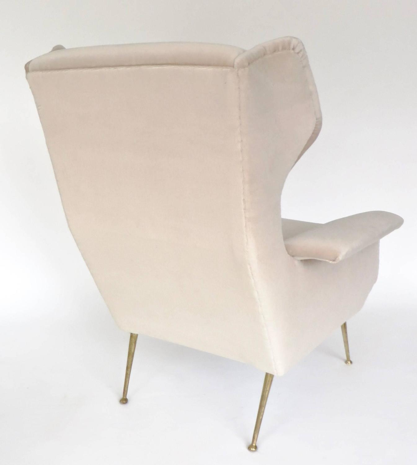Italian Upholstered Wingback Lounge Chair With Brass Legs And Feet For Sale At 1stdibs