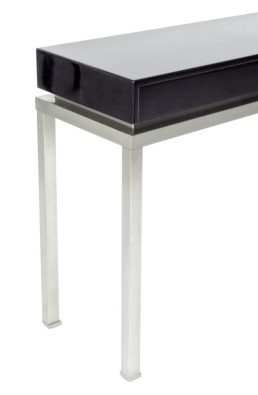 French Black Lacquer and Brushed Stainless Steel Legs Console by Maison Jansen For Sale 3
