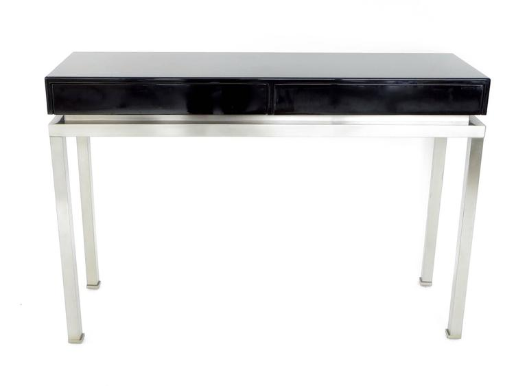 French Black Lacquer and Brushed Stainless Steel Legs Console by Maison Jansen For Sale
