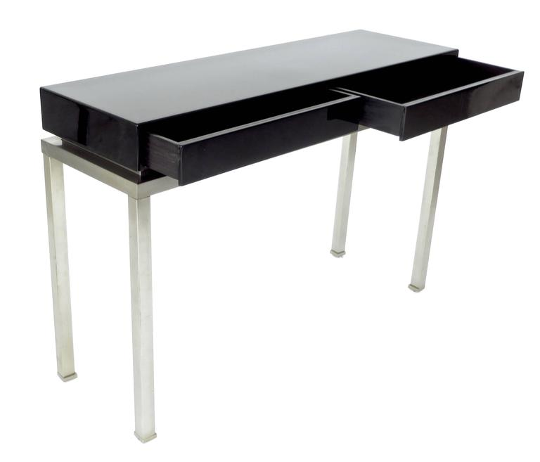 French Black Lacquer and Brushed Stainless Steel Legs Console by Maison Jansen For Sale 1
