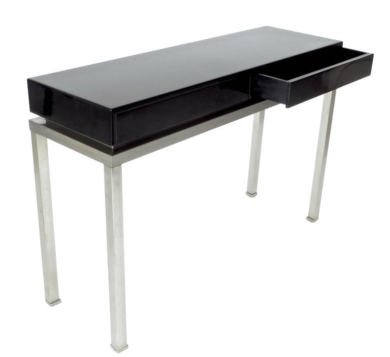 Late 20th Century French Black Lacquer and Brushed Stainless Steel Legs Console by Maison Jansen For Sale