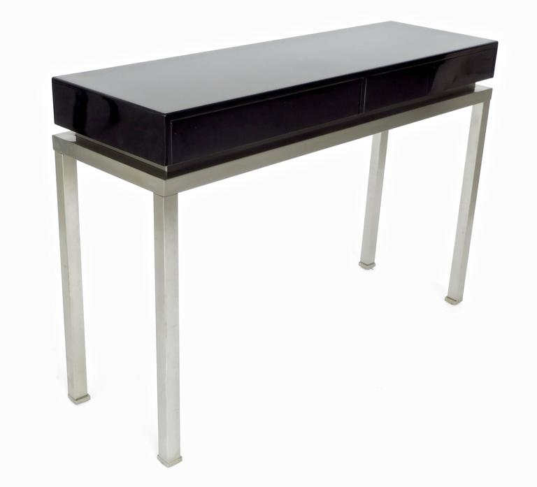 French Black Lacquer and Brushed Stainless Steel Legs Console by Maison Jansen In Excellent Condition For Sale In Chicago, IL
