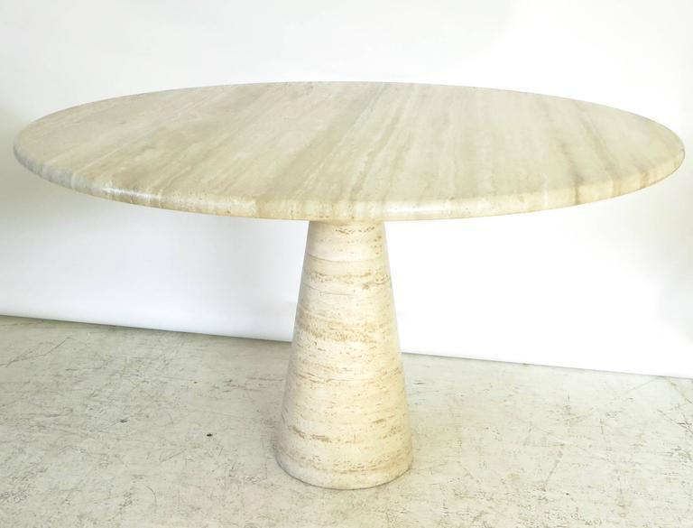 Italian Travertine Round Marble Dining Or Center Table At