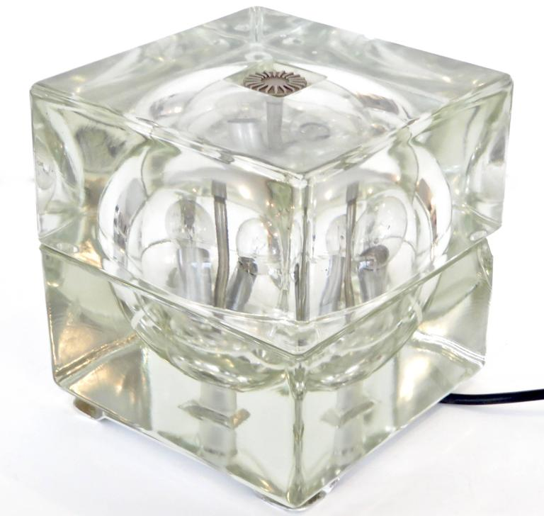 Glass Italian Cubosfera Table Lamp by Alessandro Mendini For Sale