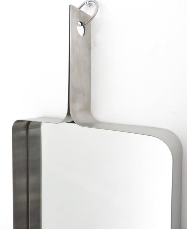Xavier-Feal French Rectangular Brushed Stainless Steel Wall Mirror, circa 1970 3