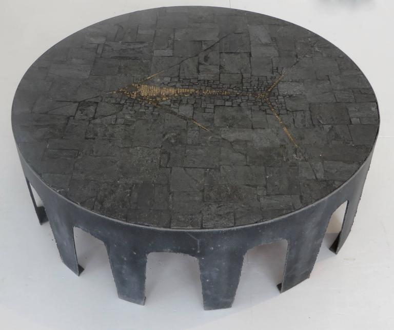 Pia Manu Belgian Round Slate, Pyrite and Iron Coffee Table 3