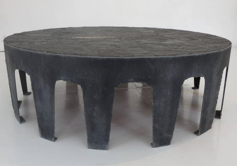 Pia Manu Belgian Round Slate, Pyrite and Iron Coffee Table 4