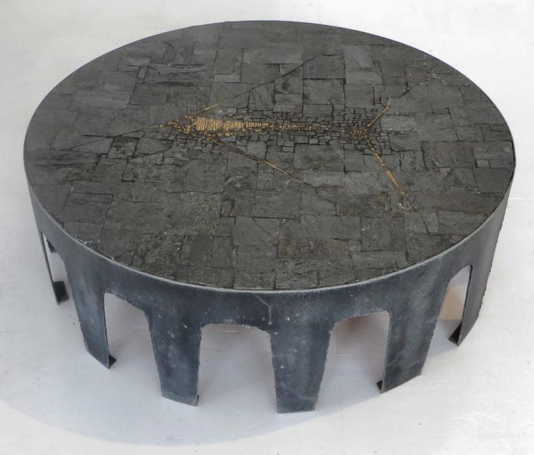 Pia Manu Belgian Round Slate, Pyrite and Iron Coffee Table 2
