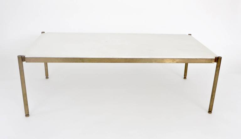 Italian Coffee Table in White Statuary Marble and Bronze Base 2