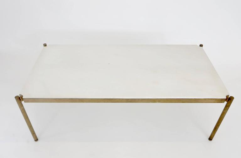 Italian Coffee Table in White Statuary Marble and Bronze Base 3