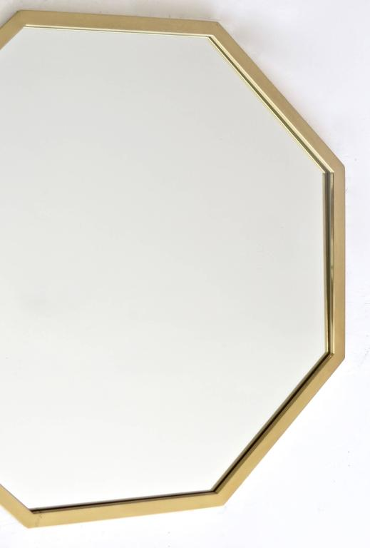 Octagonal Italian Brass Framed Mirror For Sale 1