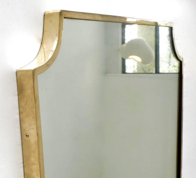 Shield Shaped Italian Brass Framed Mirror For Sale 1