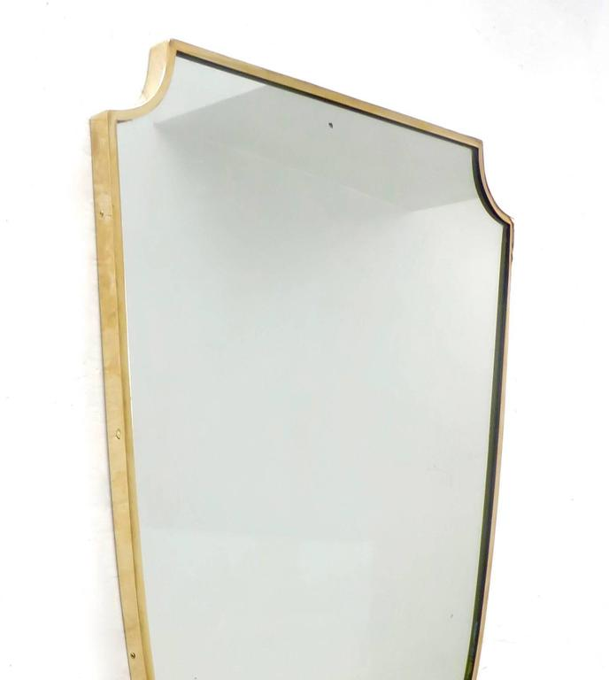 Shield Shaped Italian Brass Framed Mirror In Excellent Condition For Sale In Chicago, IL